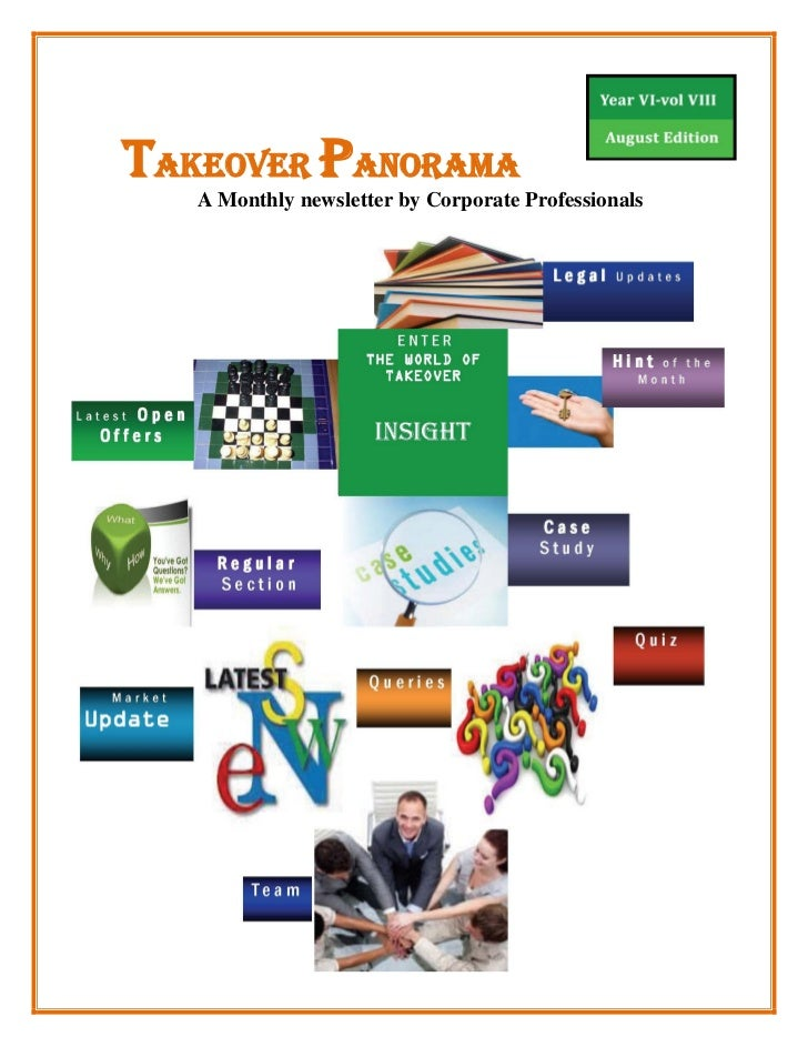 TAKEOVER PANORAMA   A Monthly newsletter by Corporate Professionals