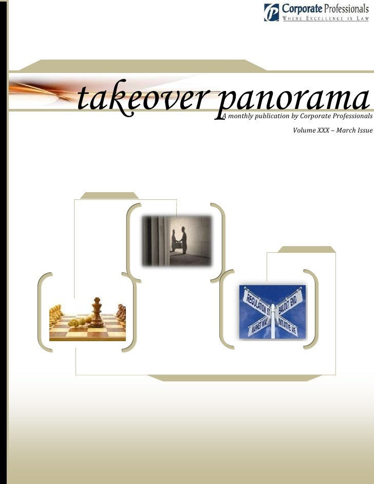 takeover panorama         A monthly publication by Corporate Professionals                                Volume XXX – Mar...