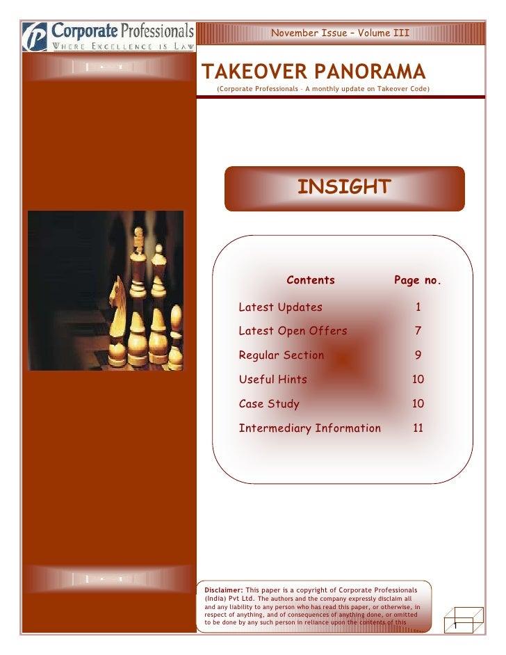 INSIGHTSINSISDh                                 November Issue – Volume III                              TAKEOVER PANORAMA...
