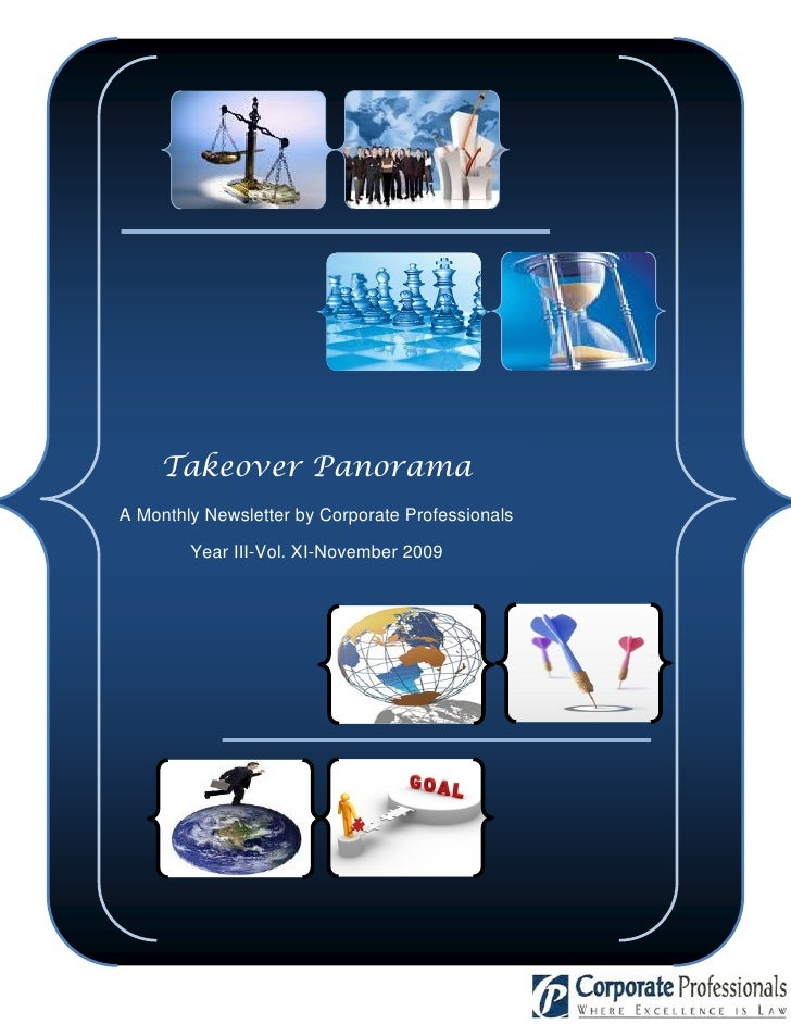 Takeover Panorama A Monthly Newsletter by Corporate Professionals          Year III-Vol. XI-November 2009