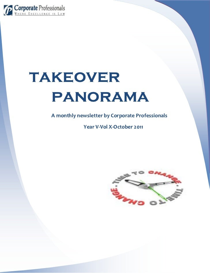 takeover  panorama A monthly newsletter by Corporate Professionals              Year V-Vol X-October 2011