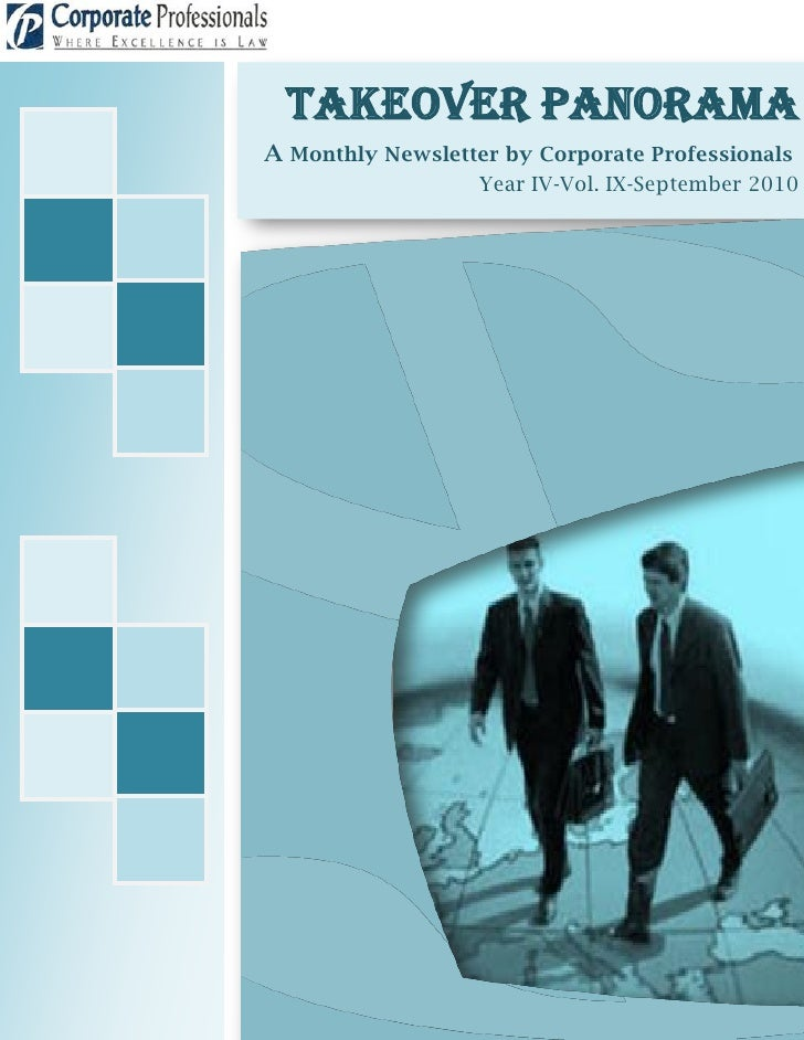 Takeover Panorama A Monthly Newsletter by Corporate Professionals                    Year IV-Vol. IX-September 2010