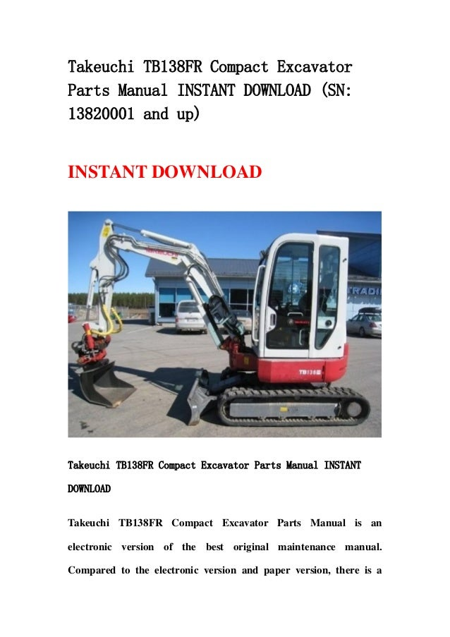 takeuchi tb138 fr compact excavator parts manual instant