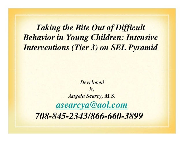 Taking the Bite Out of Difficult Behavior in Young Children: Intensive Interventions (Tier 3) on SEL Pyramid Developed by ...