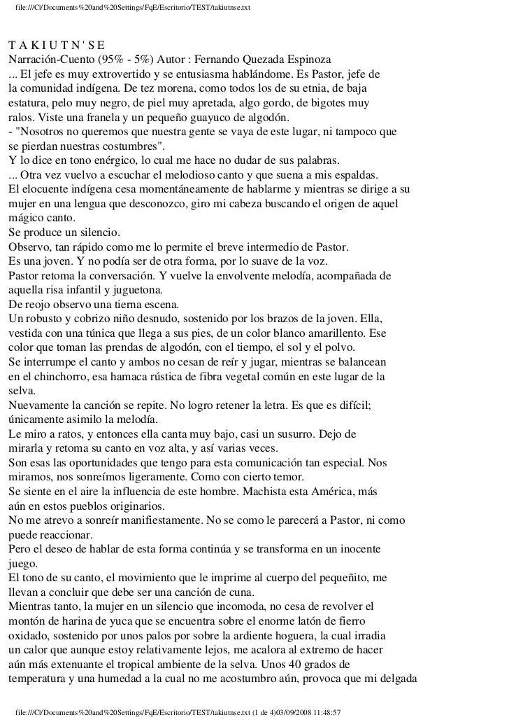 file:///C|/Documents%20and%20Settings/FqE/Escritorio/TEST/takiutnse.txt     TAKIUTN'SE Narración-Cuento (95% - 5%) Autor :...