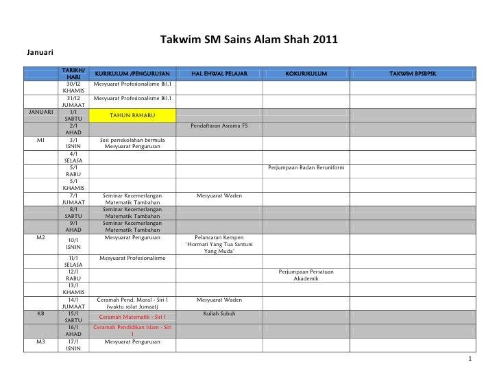 Takwim SM Sains Alam Shah 2011Januari          TARIKH/                     KURIKULUM /PENGURUSAN               HAL EHWAL P...