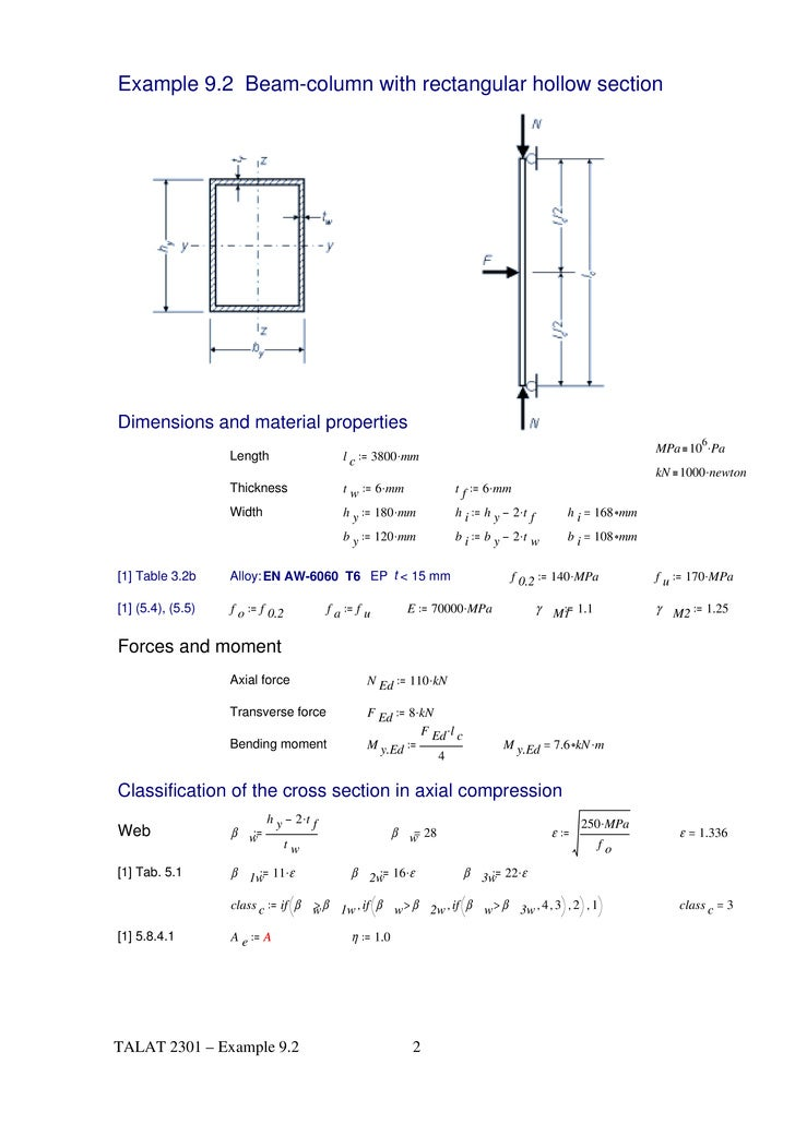 Rectangular beam dimensions