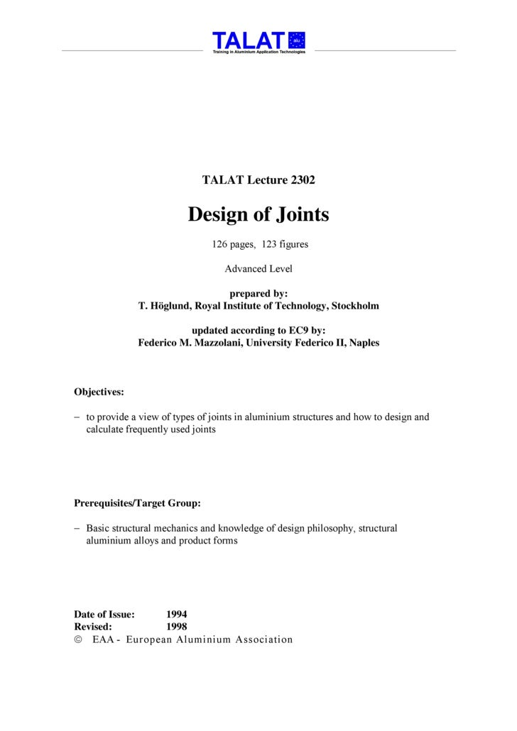 TALAT Lecture 2302: Design of Joints