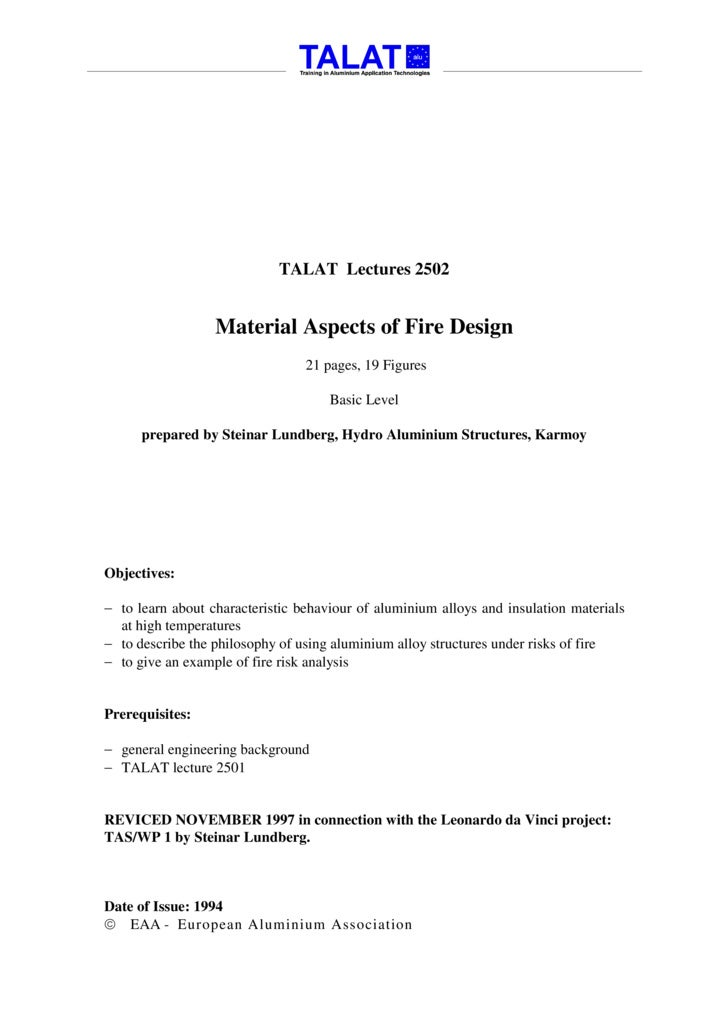 TALAT Lectures 2502                     Material Aspects of Fire Design                                  21 pages, 19 Figu...