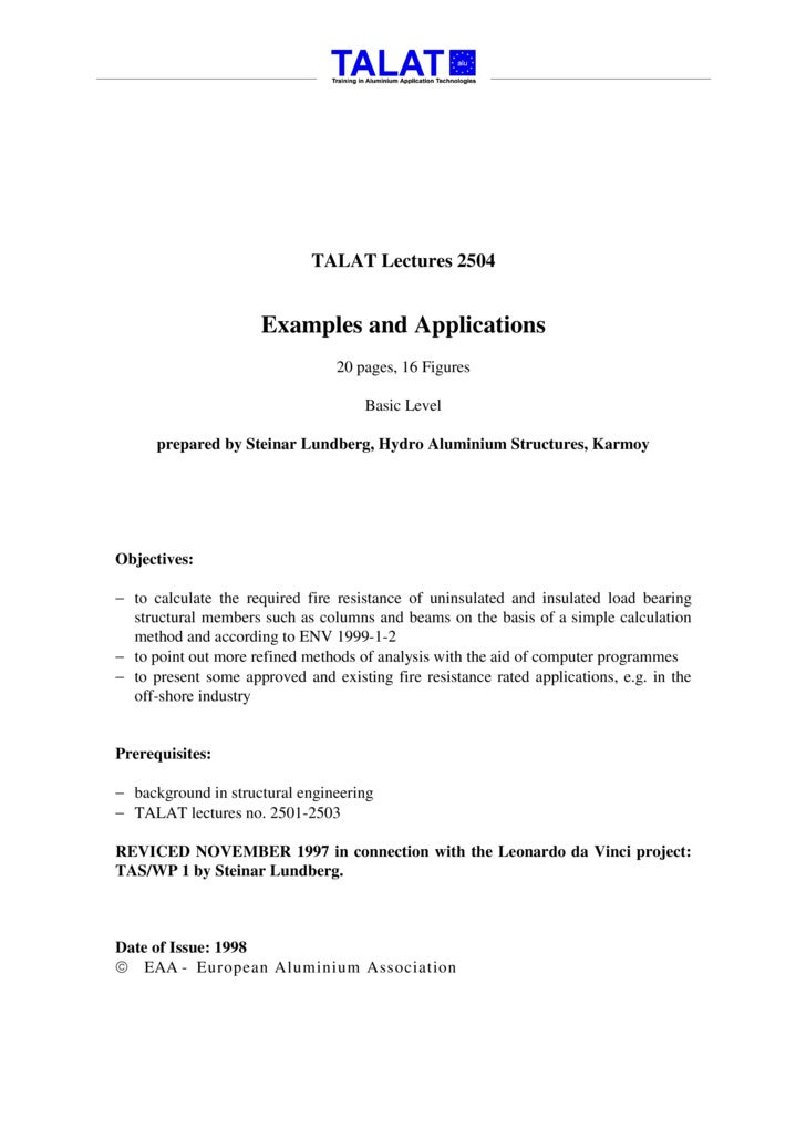 TALAT Lectures 2504                         Examples and Applications                                  20 pages, 16 Figure...