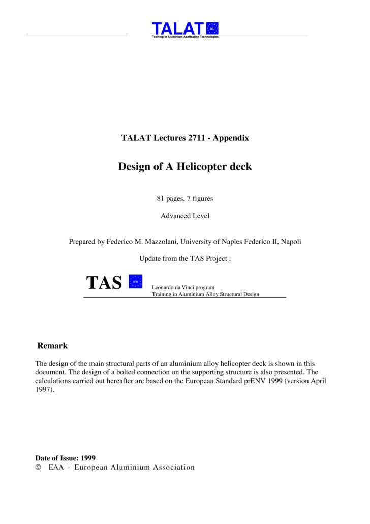TALAT Lectures 2711 - Appendix                              Design of A Helicopter deck                                   ...