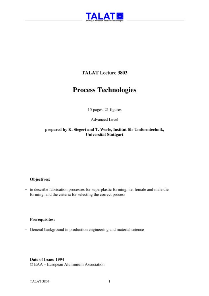 TALAT Lecture 3803: Process Technologies