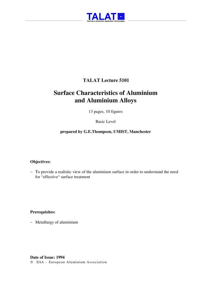 TALAT Lecture 5101: Surface Characteristics of Aluminium and Aluminium Alloys