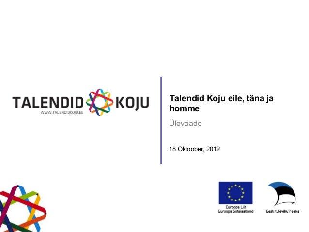 Talendid Koju eile, täna jahommeÜlevaade18 Oktoober, 2012