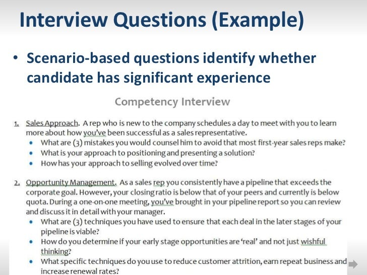 scenario based interview questions