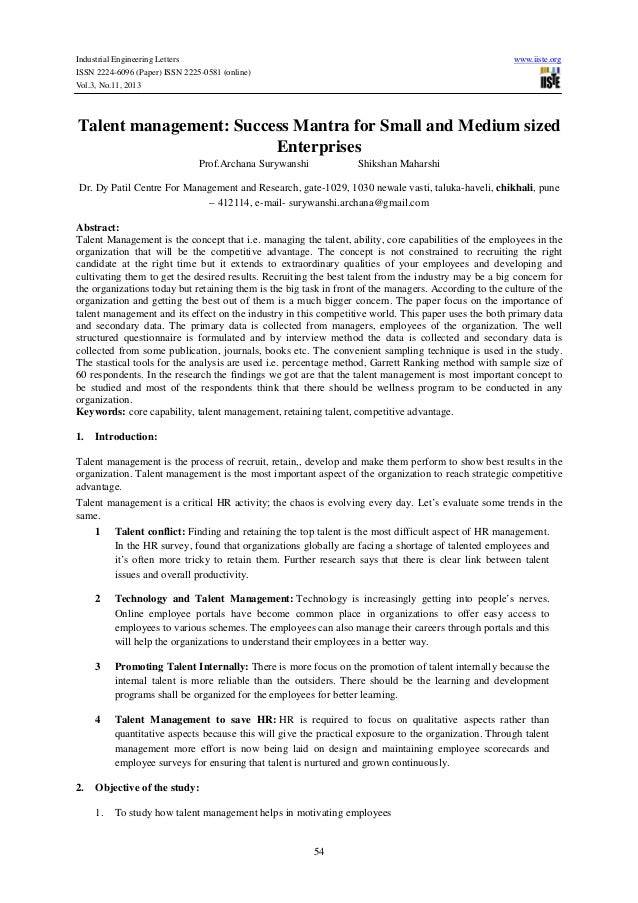 Industrial Engineering Letters ISSN 2224-6096 (Paper) ISSN 2225-0581 (online) Vol.3, No.11, 2013  www.iiste.org  Talent ma...