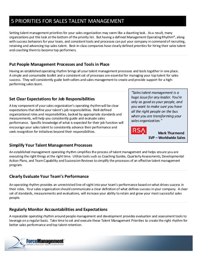 5 PRIORITIES FOR SALES TALENT MANAGEMENTSetting talent management priorities for your sales organization may seem like a d...