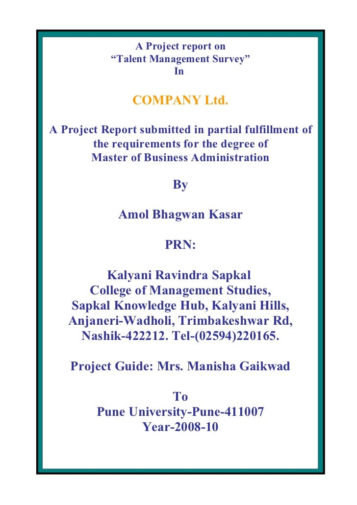 "A Project report on             ""Talent Management Survey""                          In                  COMPANY Ltd.  A Pr..."