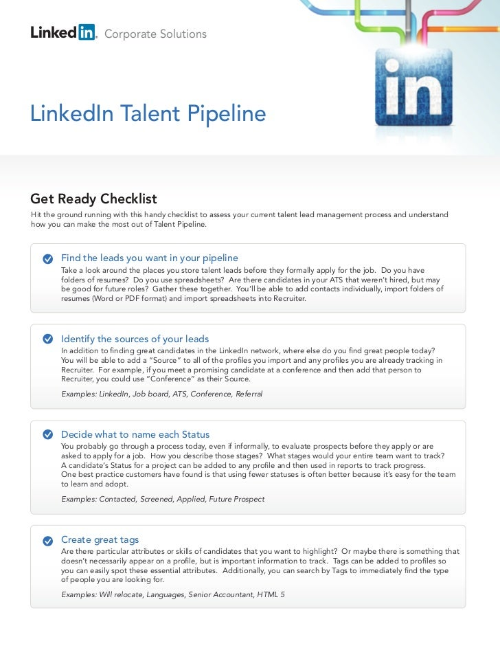 Corporate SolutionsLinkedIn Talent PipelineGet Ready ChecklistHit the ground running with this handy checklist to assess y...