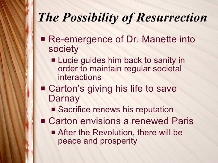 resurrection of dr manette The latter part of the sermon focuses on how jesus' resurrection recalled to life—act 4 ez early in the story we are introduced to dr manette.