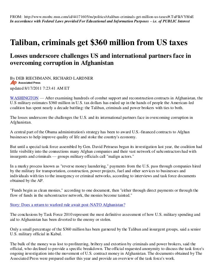 United States Govenment PAYS TALIBAN $360 MILLION TAX DOLLARS TO CARRY OUT TERRORISTS ACTS