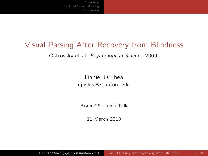 Overview                   Tests of Visual Parsing                               Conclusion     Visual Parsing After Recov...