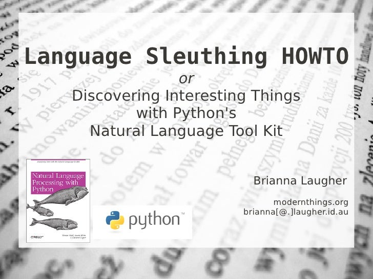 Language Sleuthing HOWTO with NLTK