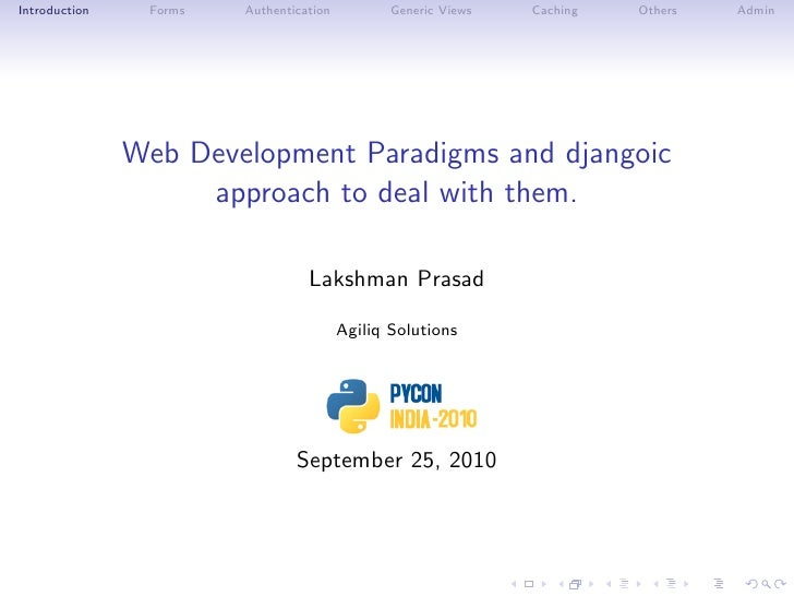 Web Development Paradigms and djangoic approach to deal with them