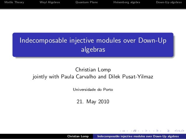 Matlis Theory Weyl Algebras Quantum Plane Heisenberg algebra Down-Up algebras Indecomposable injective modules over Down-U...