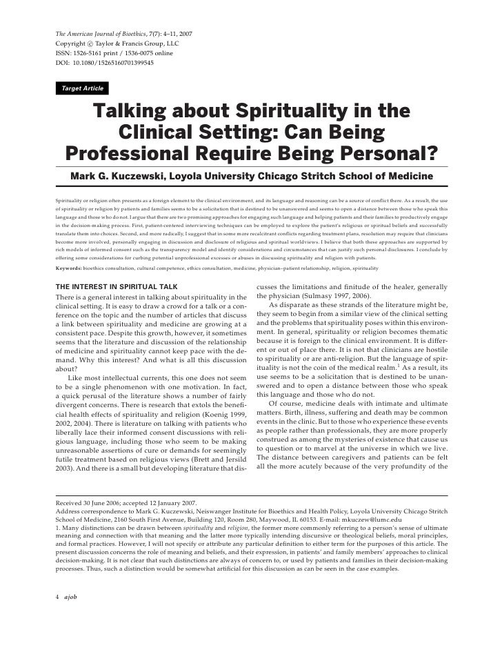 Talking About  Spirituality In The  Clinical  Setting   Can  Being  Professional  Require  Being  Personal