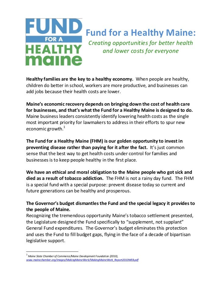 Fund for a Healthy Maine:                                          Creating opportunities for better health               ...