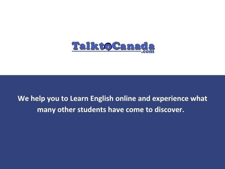 Learn English Language Online with TalktoCanada.com