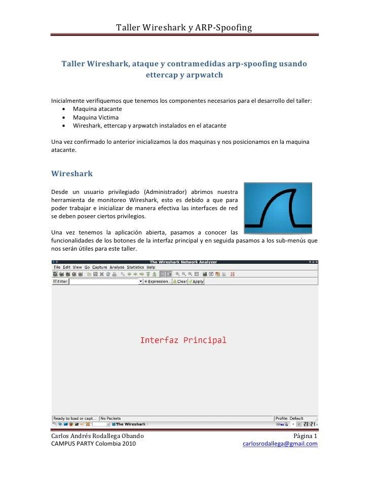 Taller Wireshark y ARP-Spoofing      Taller Wireshark, ataque y contramedidas arp-spoofing usando                         ...