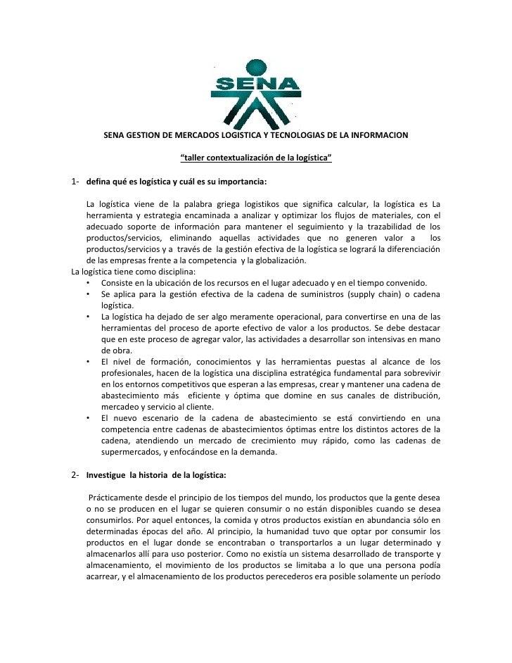 """SENA GESTION DE MERCADOS LOGISTICA Y TECNOLOGIAS DE LA INFORMACION                                """"taller contextualizació..."""