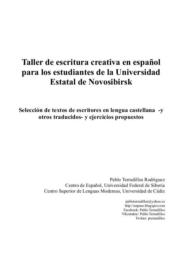 Taller de escritura creativa en español para los estudiantes de la Universidad Estatal de Novosibirsk Selección de textos ...