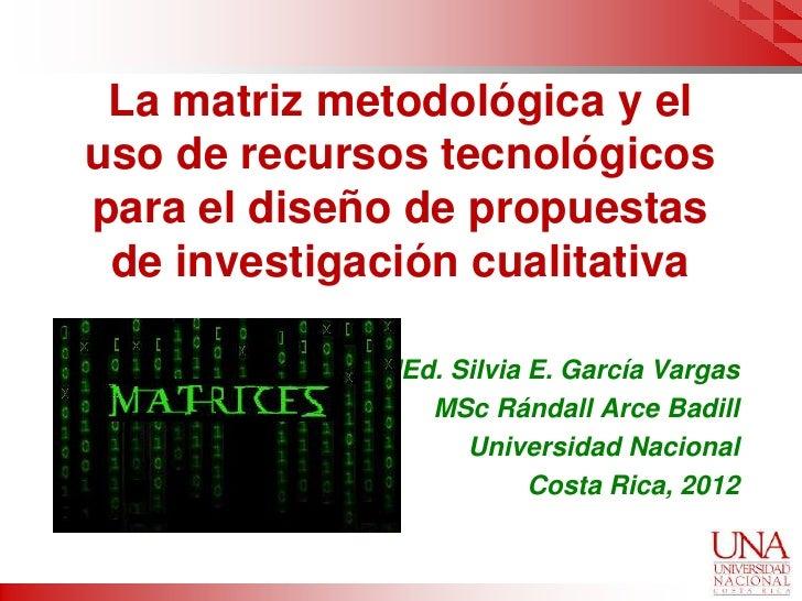 La matriz metodológica y eluso de recursos tecnológicospara el diseño de propuestas de investigación cualitativa          ...