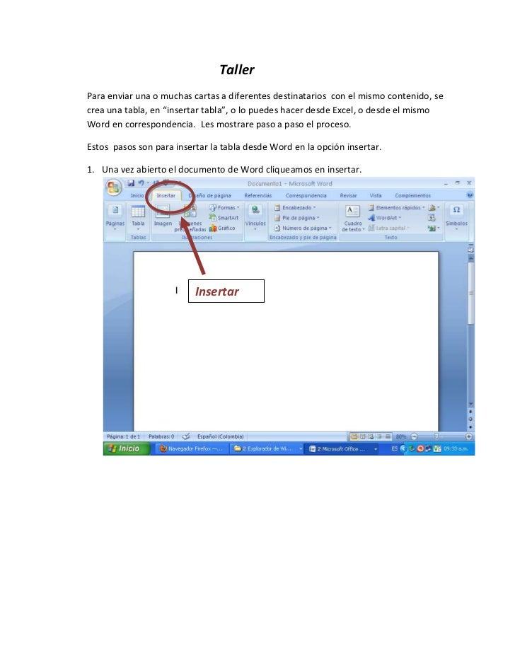 """TallerPara enviar una o muchas cartas a diferentes destinatarios con el mismo contenido, secrea una tabla, en """"insertar ta..."""