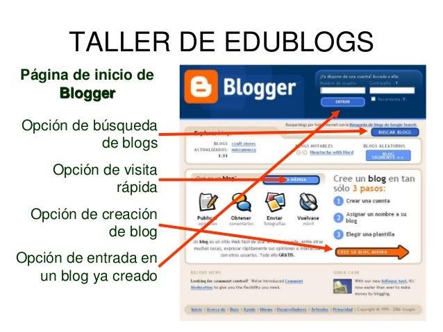 Página de inicio de Blogger Opción de búsqueda de blogs Opción de visita rápida Opción de creación de blog Opción de entra...