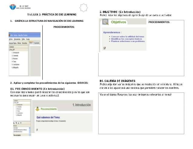 TALLER 2: PRÁCTICA DE EXE LEARNING1. GRÁFICA LA ESTRUCTURA DE NAVEGACIÓN DE EXE LEARNING                  PROCEDIMIENTOS: ...