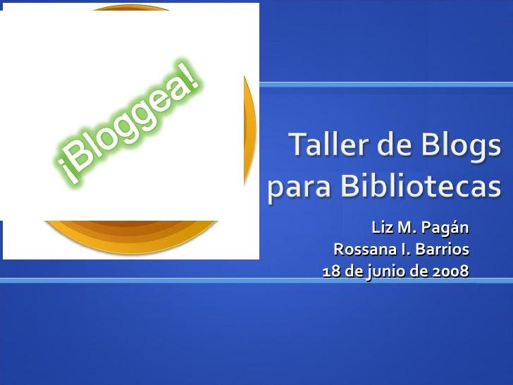 Taller de Blogs para Biblioteca