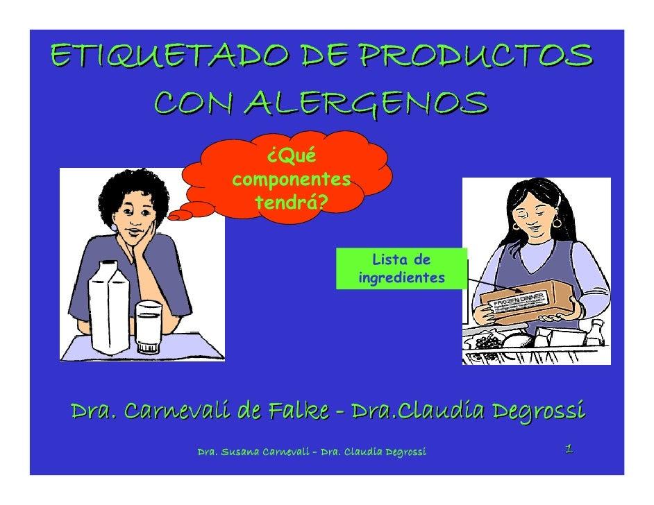 ETIQUETADO DE PRODUCTOS      CON ALERGENOS                     ¿Qué                  componentes                    tendrá...