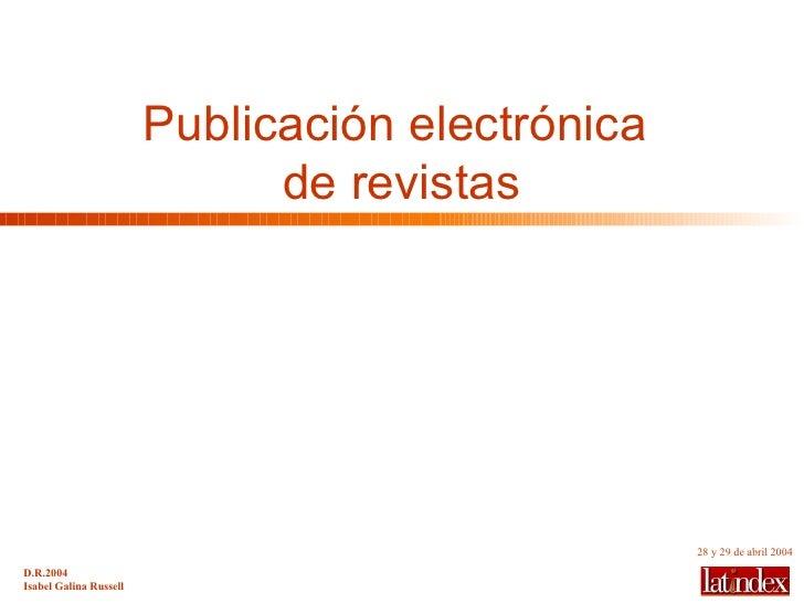 Publicación electrónica  de revistas