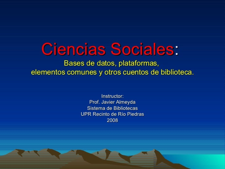 Taller Sobre Bases De Datos  En Ciencias Sociales