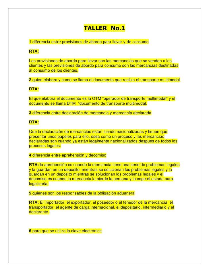 TALLER  No.1<br />1 diferencia entre provisiones de abordo para llevar y de consumo<br />RTA:<br />Las provisiones de abor...