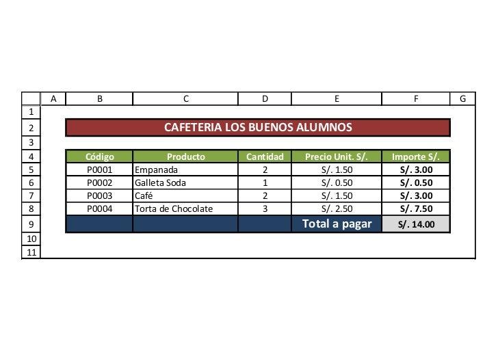 A     B                 C            D              E                F        G12                       CAFETERIA LOS BUEN...