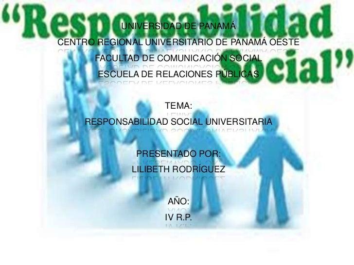UNIVERSIDAD DE PANAMÁCENTRO REGIONAL UNIVERSITARIO DE PANAMÁ OESTE      FACULTAD DE COMUNICACIÓN SOCIAL       ESCUELA DE R...