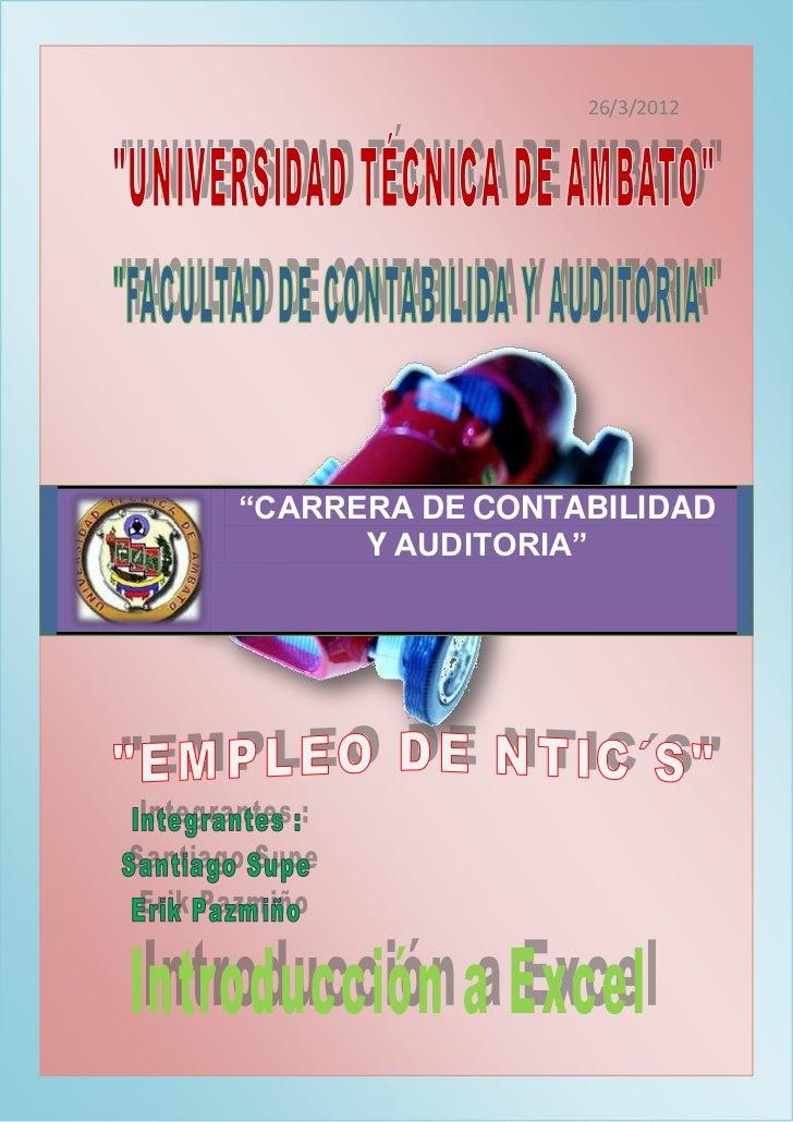 """26/3/2012""""CARRERA DE CONTABILIDAD      Y AUDITORIA"""""""