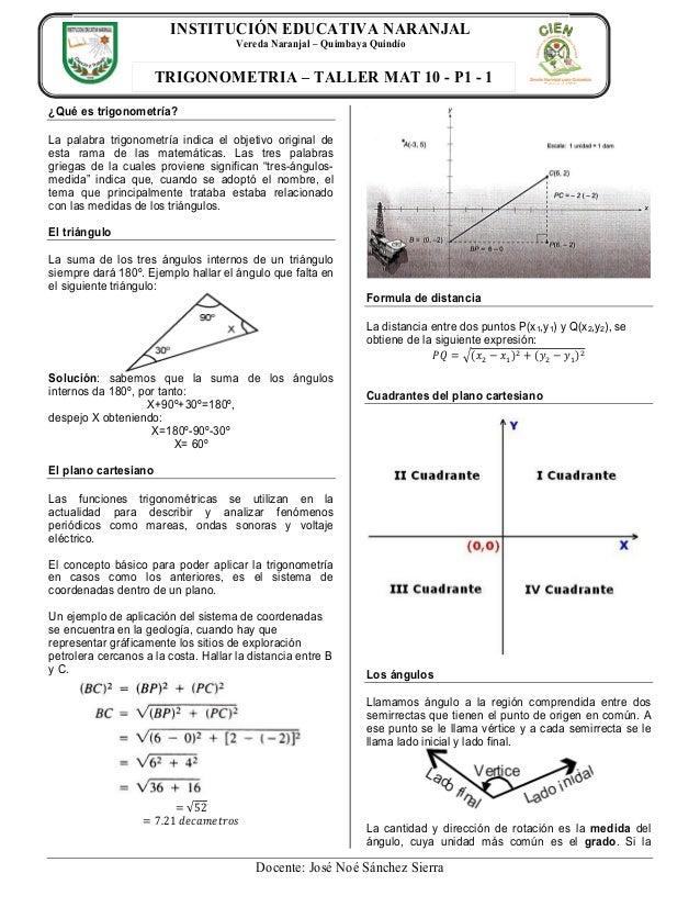 INSTITUCIÓN EDUCATIVA NARANJAL Vereda Naranjal – Quimbaya Quindío  TRIGONOMETRIA – TALLER MAT 10 - P1 - 1 ¿Qué es trigonom...