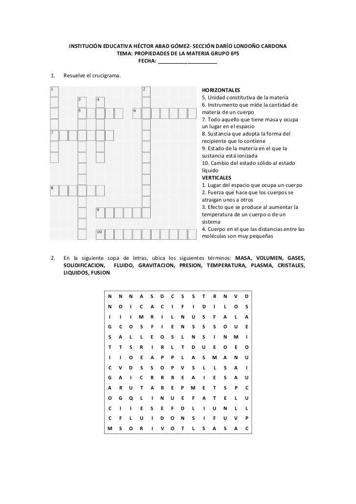 INSTITUCIÓN EDUCATIVA HÉCTOR ABAD GÓMEZ- SECCIÓN DARÍO LONDOÑO CARDONA<br />TEMA: PROPIEDADES DE LA MATERIA GRUPO 6º5<br /...