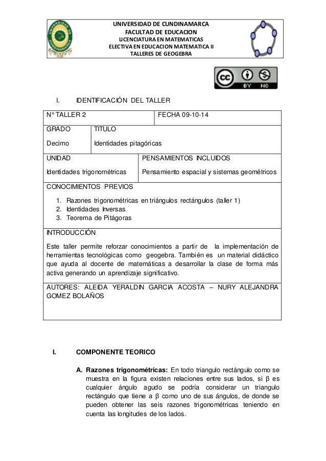 UNIVERSIDAD DE CUNDINAMARCA  FACULTAD DE EDUCACION  LICENCIATURA EN MATEMATICAS  ELECTIVA EN EDUCACION MATEMATICA II  TALL...